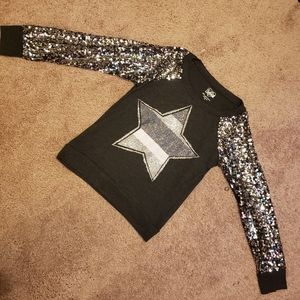 Sequined sleeve sweater